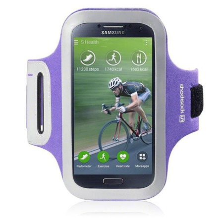 Etui sportowe Shocksock do Samsung i9500 Galaxy S4 odblaskowe - fioletowy