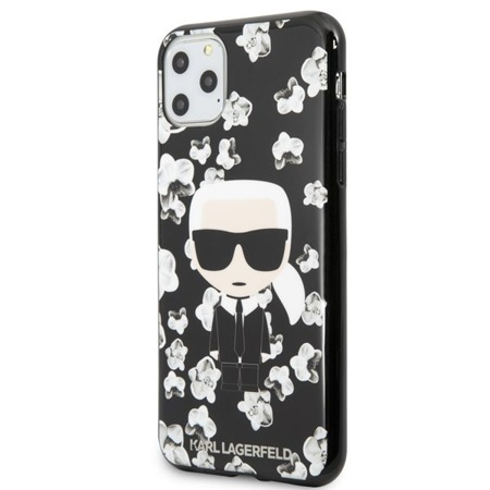 KARL LAGERFELD ICONIC KARL FLOWER - ETUI IPHONE 11 PRO MAX (CZARNY)